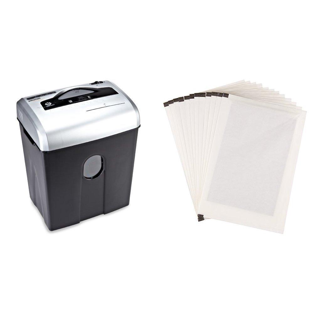 Basics Aktenvernichter, 10-12 Blatt, Kreuzschnitt, CD-Schredder und Schmiermittelblä tter, 12 Stk.