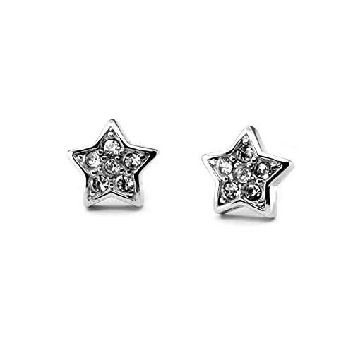 c566be204 Amazon.com: Star Neodymium Magnetic Earrings Silver Medical Stainless Steel  Nickel Free Hypoallergenic Energetix 4you 196P with Many Swarovski Crystals  ...