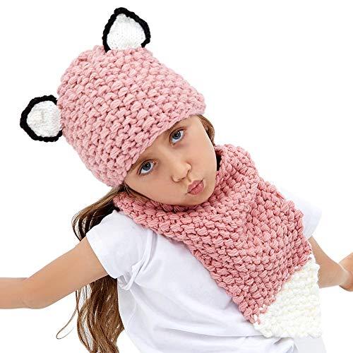Tacobear Fox Hat for Kids Handmade Knit Hat Warm Winter Hat Crochet Fox Animal Hat Scarf Coif Hooded Knitting Beanie for Baby Girls