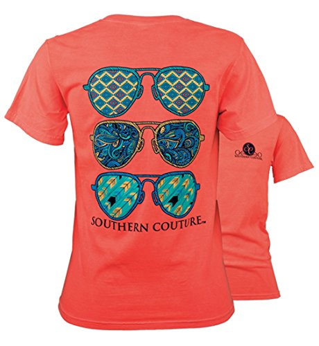 Southern Couture SC Comfort Wild Aviators Womens Classic Fit T-Shirt – Neon Red Orange, Medium
