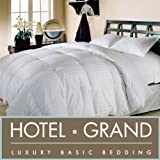 Hotel Grand Oversized 500 Thread Count Damask Stripe White Down Comforter- King.