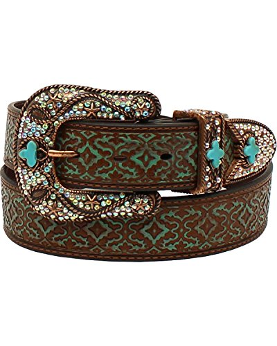 Buckle Set Belt Turquoise - Nocona Belt Co. Women's Aged Geo Turquoise Bling Buckle Set Belt, brown, Large