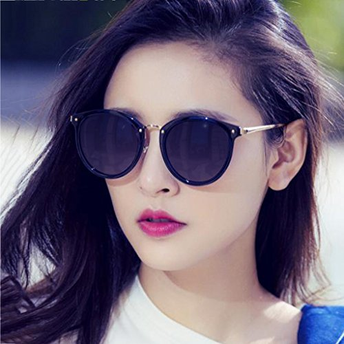 Femeninas Redonda UV400 Color Black Gray gradually Black frame Frame UV de Sol Coreana Gradually gray Resina Versión Moolo Exterior Gafas Gafas Cara HLMMM Sol de Turismo qwBnnxY6IT