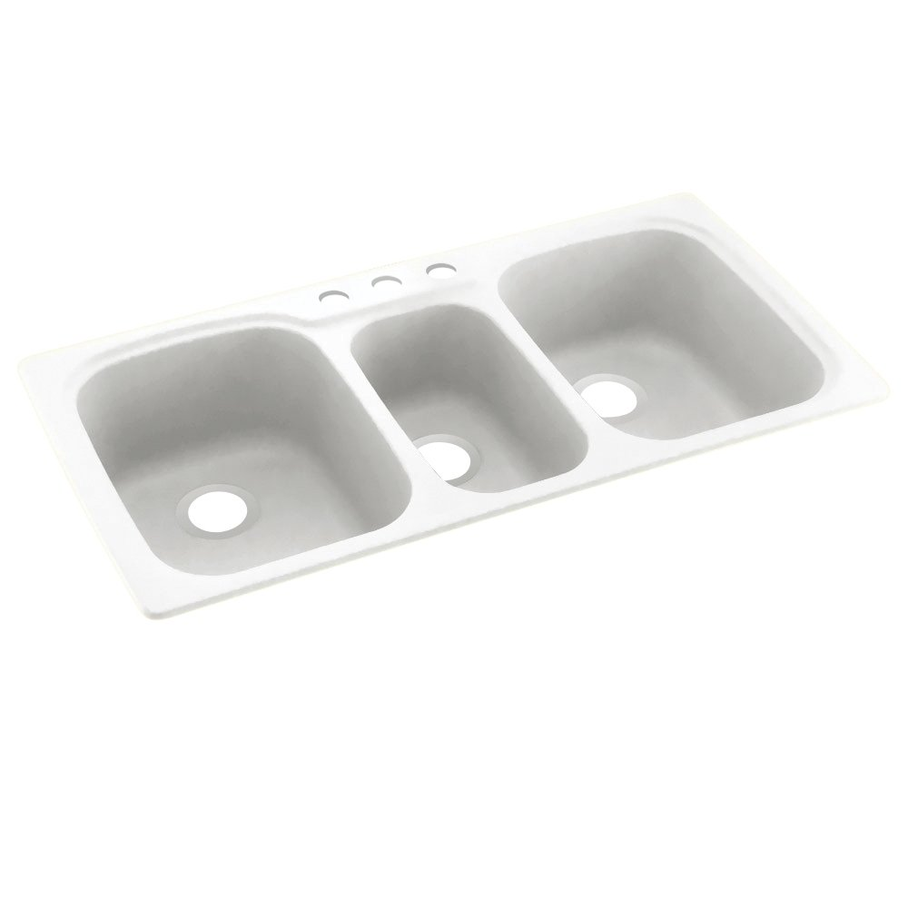 Swanstone KS04422TB.010-3 3-Hole Solid Surface Kitchen Sink, 44'' x 22'', White by Swanstone
