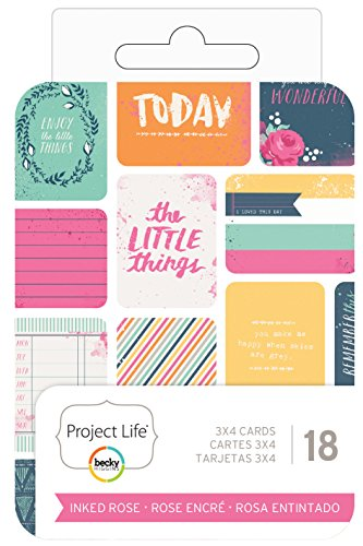 Becky Higgins Project Life 3 x 4 Themed Cards Inked Rose (6 Pack) -