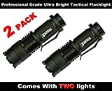 2 New Professional Grade Ultra Bright Tactical Flashlight 300 Lumen LED Water Resistant Zoomable Spotlight Best Tool For Boy Scouts Bugout Bag Power Outage Great Camping Lantern Outdoor Survival Gear