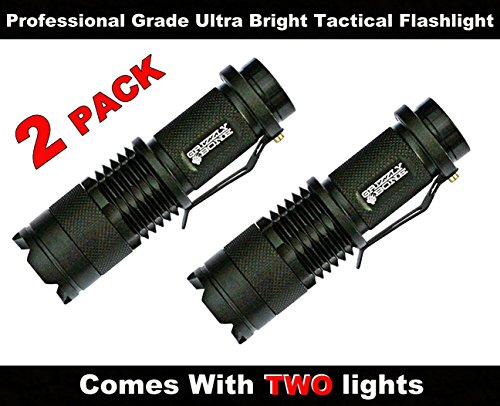 2 New Professional Grade Ultra Bright Tactical Flashlight 300 Lumen LED Water Resistant Zoomable Spotlight Best Tool For Boy Scouts Bugout Bag Power Outage Great Camping Lantern Outdoor Survival Gear by Grizzly Bone