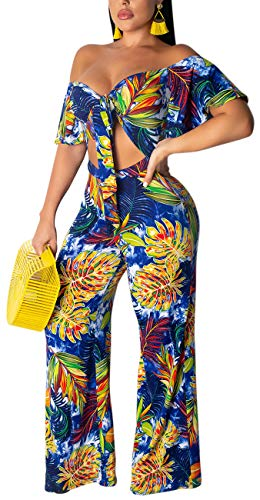 Women's Sexy V Neck Floral Two Piece Outfits Elegant Short Bell Sleeve Off Shoulder Bandage Crop Top Wide Leg Long Palazzo Pants Stretchy Jumpsuits Comfy Colorful Clubwear
