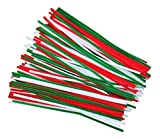 120 Festive Coloured Craft Pipe Cleaners 30cm x 6mm Red White Green by Kids B Crafty