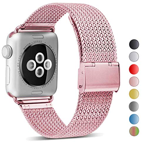 Seoaura Compatible Watch Band 38mm 40mm, Stainless Steel Milanese Loop Replacement Strap with Magnetic Closure Series 4 3 2 1 Sports (Rose Gold, 38mm/40mm)