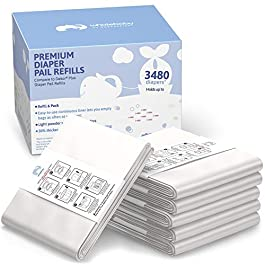 6 Pack of Compatible Dekor Plus Refill Liners | Ultra-Strong 30% Thicker Bags Reduce Tearing | Light Powder Scent Combats Odors | Replacement for Dekor Diaper Pail Refills & Diaper Dekor Plus Refills