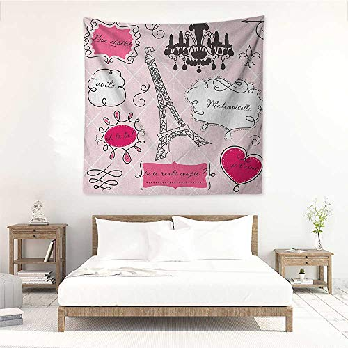Willsd Teen Room Wall Tapestry for Bedroom Doodle Frames in French Style Rococo Baroque Lantern Mademoiselle Print Occlusion Cloth Painting 55W x 55L INCH Hot Pink and Black