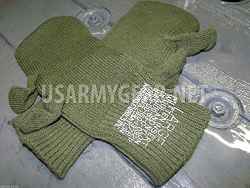 New US Army Military Wool Hunting Shooting Trigger Finger Mitten Insert Liners Cool Sniper Gloves USGI (Large)