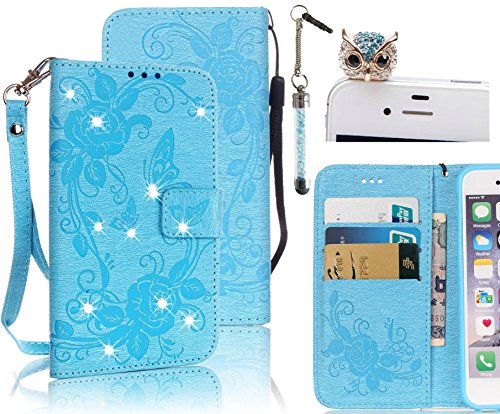 Galaxy S7 Edge Case,Vandot 3in1 Set Flip Folio Stand Magnetic Flower Butterfly Wallet Case With Card Slots Shiny Shining Sparkling Perfect Fit Cover For Samsung Galaxy S7 Edge SM-G935F+Wrist Strap +Diamond Anti Dust Plug+Stylus Pen-Blue