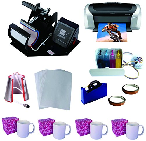 3in1 Pro Sublimation Heat Press Machine Epson Printer C88 CISS KIT by TRANSFER WORLD