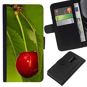 KingStore / Leather Etui en cuir / LG G2 D800 / Macro de la fruta de la cereza de la hoja