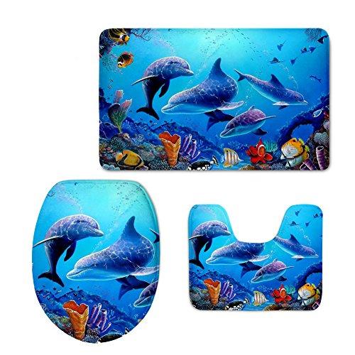 HUGS IDEA Blue Ocean Design Bathroom Rug Set Soft Thick Bath Rug Contour Mat with Lid Cover (3 Piece)