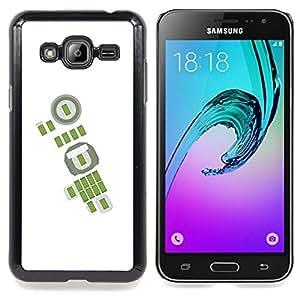 - Green Abstract White Football Soccer/ Duro Snap en el tel????fono celular de la cubierta - Cao - For Samsung Galaxy J3