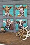 4 Pc Set of Funny Cow Face Paintings on Recycle Wood Panel - Turquoise Farmhouse Wall Decor