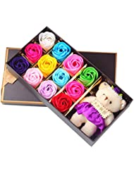 WINOMO Pack of 12 Scented Bath Soap Rose Flower Petals in Box with Bear for Birthday Wedding Valentine (Multicolor)