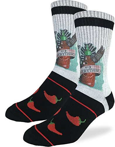 Good Luck Sock Men's Sriracha Crew Socks - Grey, Adult Shoe Size - Gifts For Men Luck Good