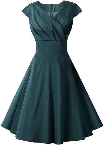 Vestido de cóctel vintage de los años 50, escote en V, falda ...