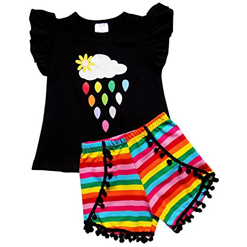 So Sydney Girls Toddler Pom Pom Novelty Summer Pool Beach Vacation Shorts Outfit (2T (XS), Rainbow Drops)