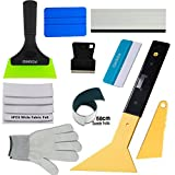FOSHIO Window Tint Film Installing Tool Set, 10 in 1 Include Long Reach Rubber Handle Foot Squeegee, Felt Squeegee, Rubber Edge PVC Black Squeegee, Mini Razor Scraper, Gloves and Suede Felt