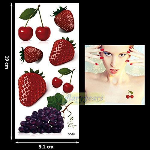 Tattoo Cherry (FRUIT BASKET cherries grapes strawberries 7 temporary tattoos scar cover up body stickers waterproof body makeup stretch mark cover up fake tattoo cover up anime body art)