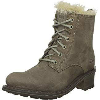 Caterpillar Women's Lolita Leather Faux Fur Lace Up Ankle Boots 6