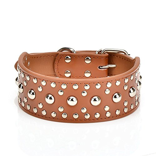 Diamond Candy Wide Thick Genuine Leather Studded Medium Or Large Pet Dog Collar