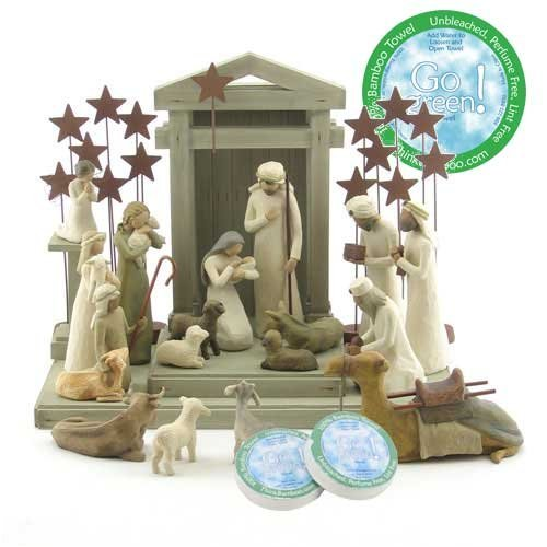 (Willow Tree 21 Piece Nativity Set By Susan Lordi (Includes Peace On Earth) with Go Green! Compressed Bamboo Towels)