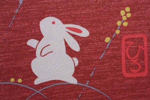 Japanese Noren W:85cm(33.46in) X H:150cm(59in) Rabbit Dark Red Lame Yarn by Narumi noren (Image #4)