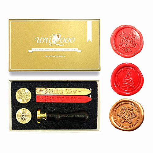 UNIQOOO Arts & Crafts Christmas Wax Seal Stamp Kit, 3 Stamps - Merry Christmas, Xmas Tree, Snowflake, 2 Wick Wax Sticks, Great For Holiday Decorations, Postcards, Invitations, Gift (Flourish Christmas Tree)