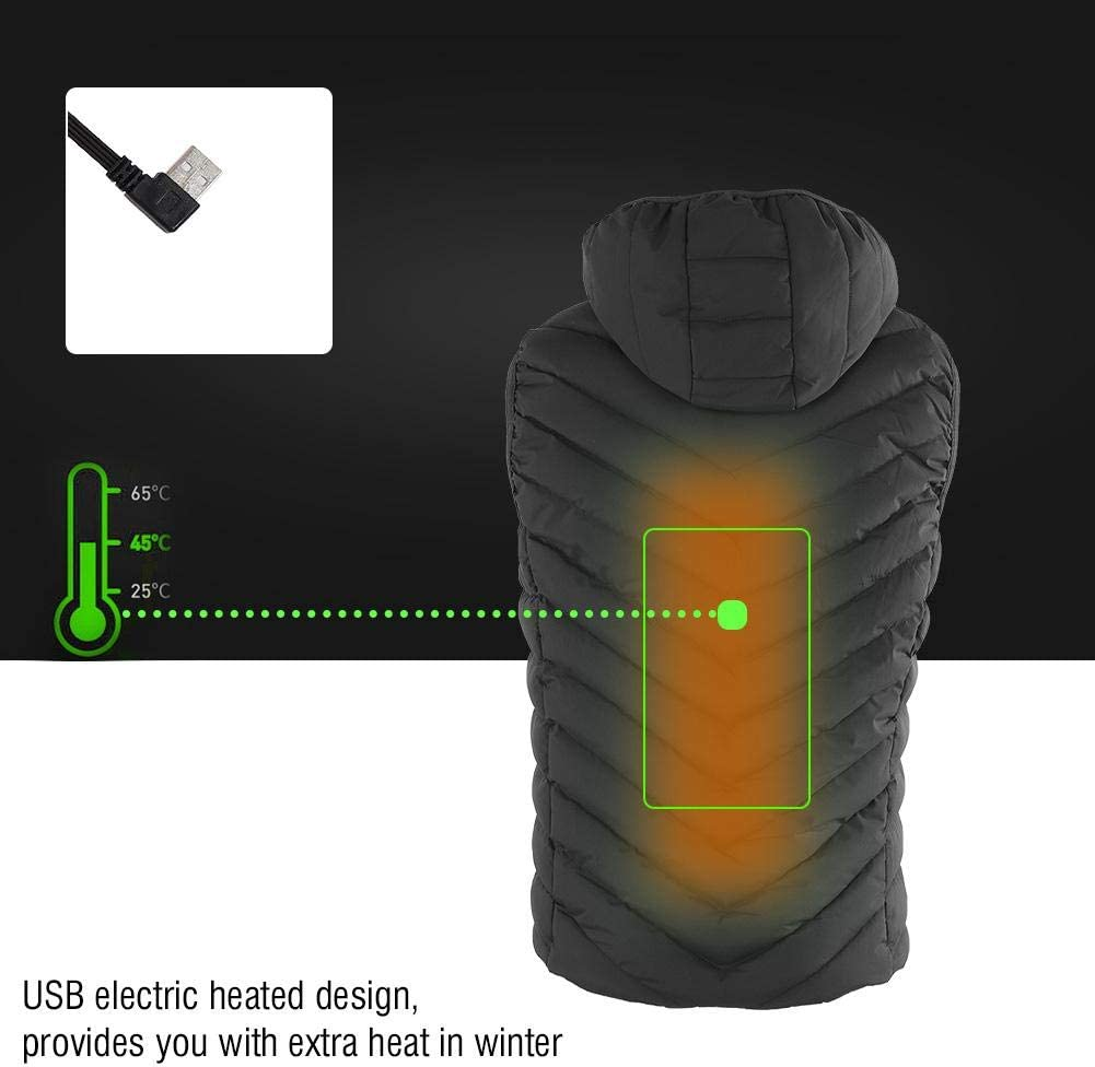 Alomejor 6 Sizes 3 Colors Heated Vest Electric Warm Heating Vest with Temperature Adjustment for for Outdoor Riding Skiing Fishing Camping Hiking