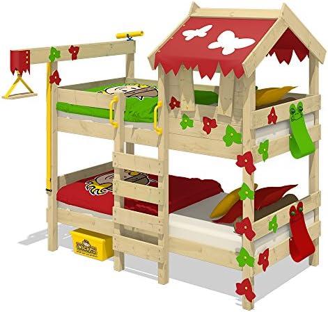 WICKEY Litera CrAzY Ivy Cama para jugar para 2 niños Cama alta con techo, escalara para trepar y somier de madera, rojo-verde manzana: Amazon.es: Bricolaje y herramientas