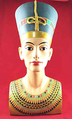 "Large Egyptian Queen Nefertiti Bust Statue 18""h Detailed Craftsmanship Sculpture"