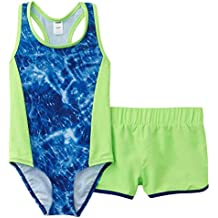 1c3760da5 Joe Boxer Girls 2 Piece Swim Set Blue Tie Dye Swimming Suit   Green Shorts