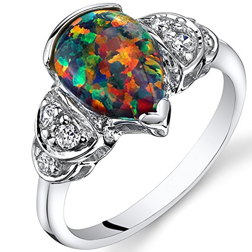 Created Black Opal Bellezza Ring Sterling Silver 1.00 Carat Size 5