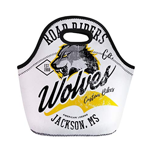 Semtomn Lunch Tote Bag Vintage American Wolf Bikers Club Tee Mississippi Jackson Street Reusable Neoprene Insulated Thermal Outdoor Picnic Lunchbox for Men Women