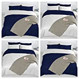 Adam Home 4PCS Complete Reversible Duvet Cover & Fitted Sheet Soft Micro Fiber Bedding Sets by TTO (Blue White, Double)