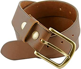 """Creek Mens One-Piece 100% Brown Leather Casual Jean Belt 1-1/2"""" Wide (32)"""