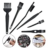 6 in 1 Small Computer Keyboard Cleaning Brush Set (Black, Nylon)
