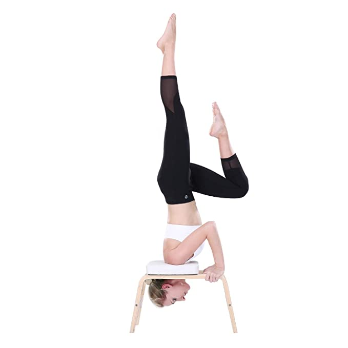MaxKare Yoga Headstand Bench Wood Stand Yoga Inversion Chair Stool Handstand with PVC Pads for Family, Gym - Relieve Fatigue and Shape The Body ...