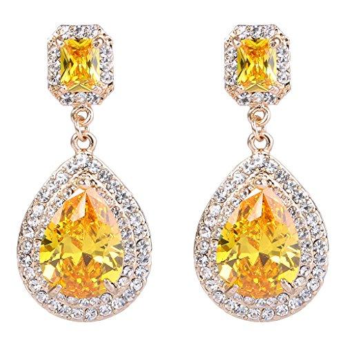 Ever Faith - Zircon Cristal Goutte pendre Boucles d'oreilles Marron-Plaqué Or A08642-4