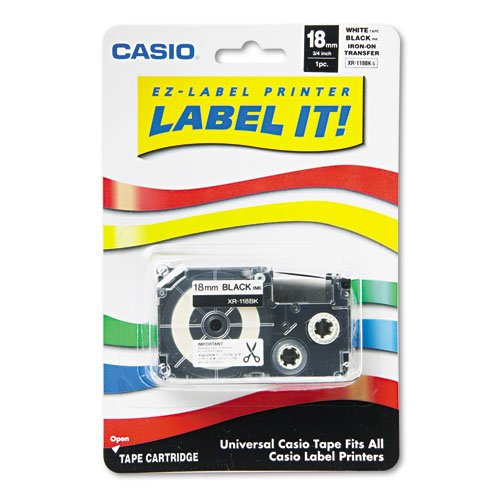 - Label Printer Iron-On Transfer Tape, 18mm, Black on White, Sold as 1 Each