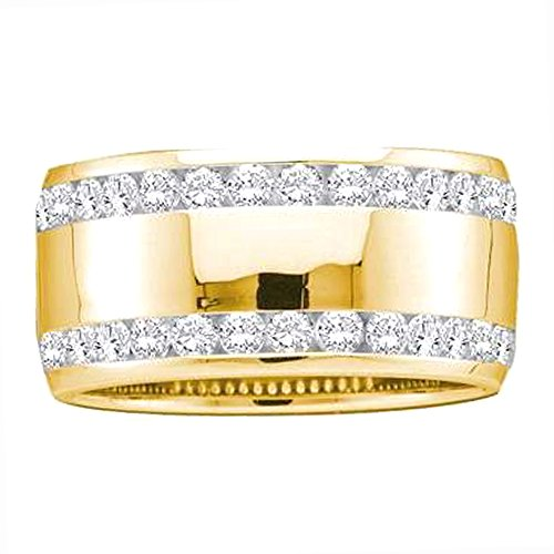 1.00 Carat (ctw) 14K Yellow Gold Round Cut White Diamond Ladies Wedding Anniversary Band 1 CT