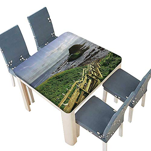 PINAFORE Polyester Island Skyline Great Ocean Road Australia Stairs Seashore Countryside Spillproof Fabric Tablecloth 29.5 x 29.5 INCH (Elastic Edge)
