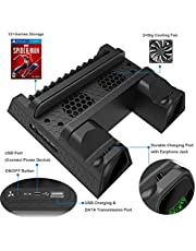 OIVO Cooling Fan Compatible with Regular PS4/ PS4 Pro/ PS4 Slim, Controller Charging Dock Station with Cooler Vertical Stand, Dual Controller Charger with LED Indicators and 12 Games Storage