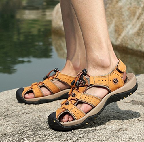 Mens Leather Sandals Closed Toe Summer Sports Breathable Outdoors Beach Shoes Fashion Trail Walking And Hiking Brown 22Pchg03
